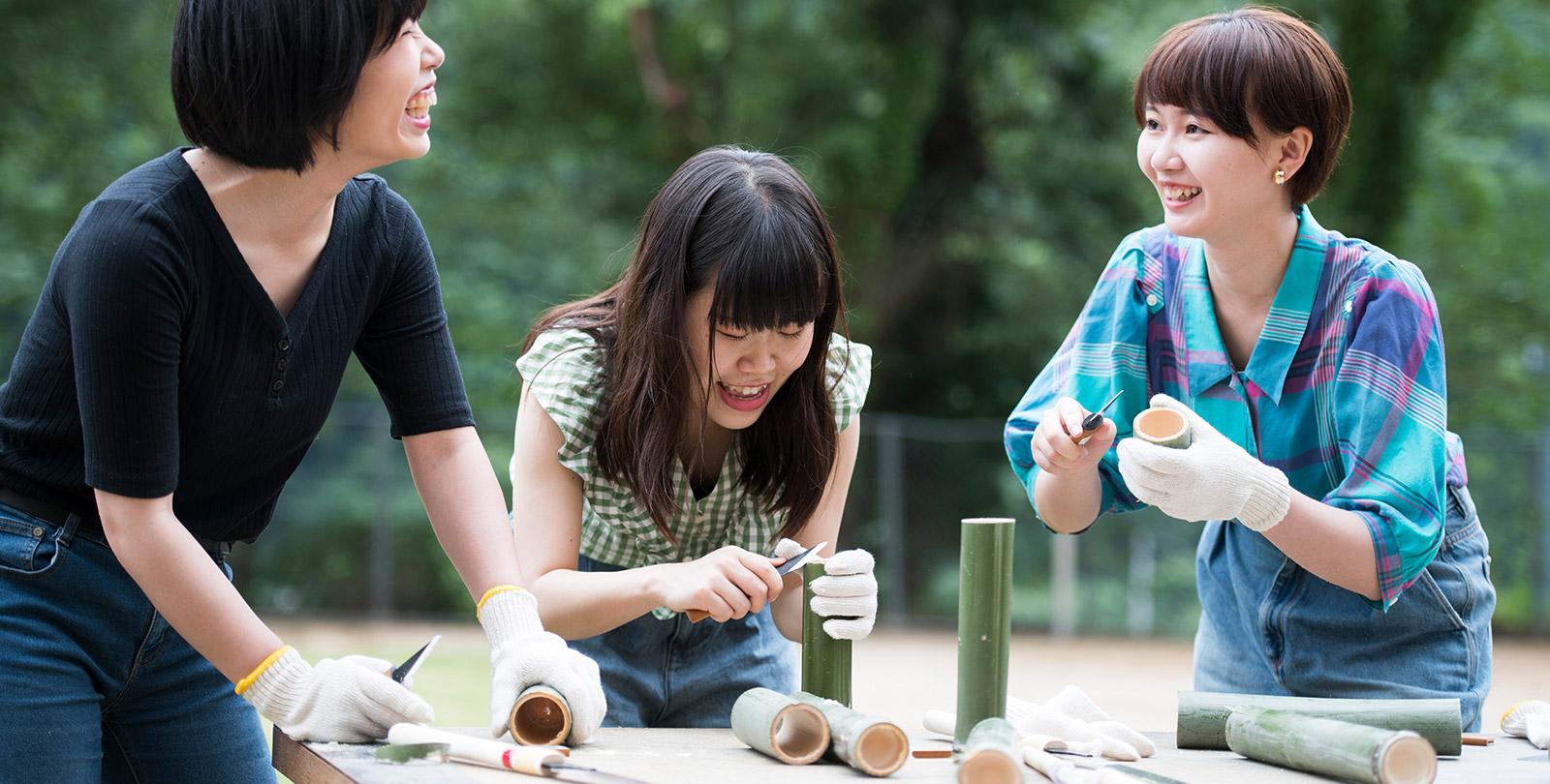 竹でおもちゃ&食器作り
